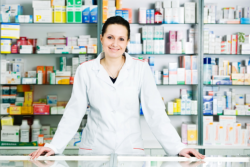 female pharmacist in the counter