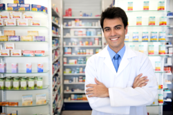 male pharmacist in the counter